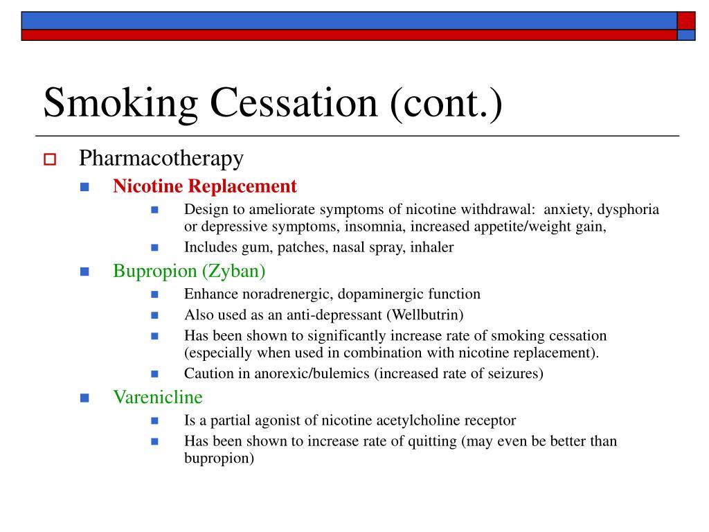Smoking Cessation (cont.)
