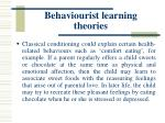 behaviourist learning theories28