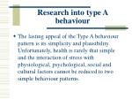 research into type a behaviour112