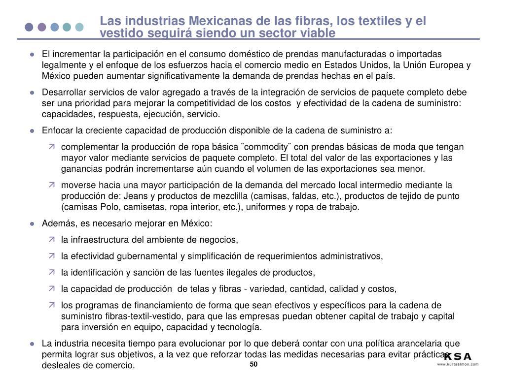 Las industrias Mexicanas de las fibras, los textiles y el vestido seguirá siendo un sector viable