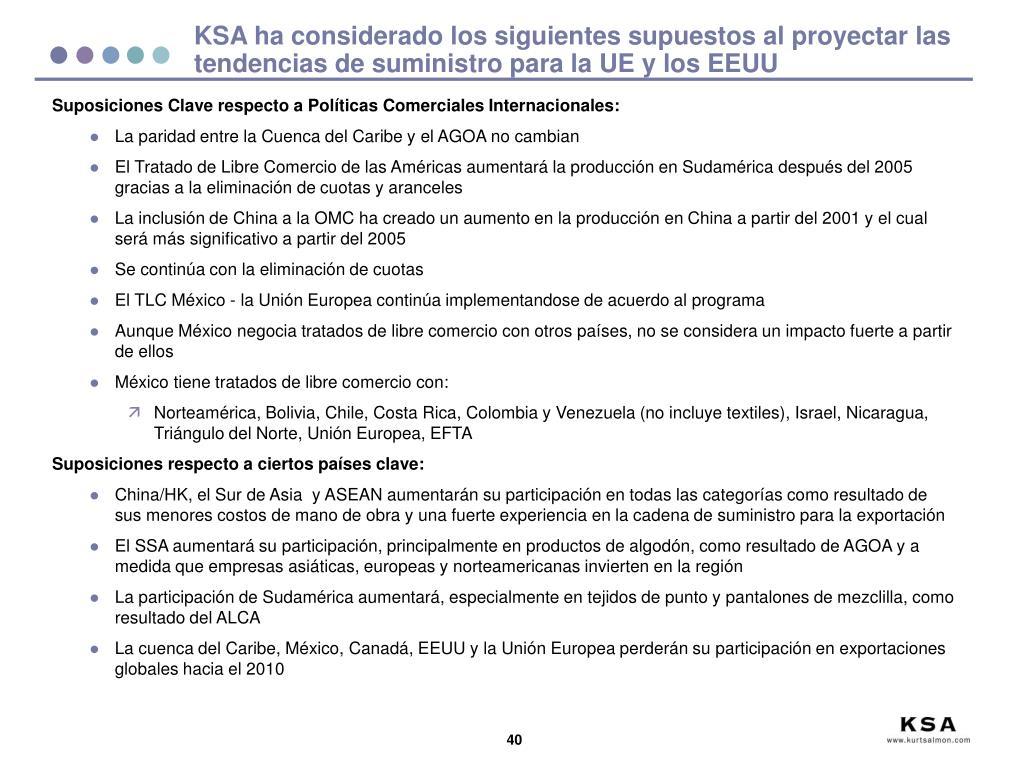 KSA ha considerado los siguientes supuestos al proyectar las tendencias de suministro para la UE y los EEUU