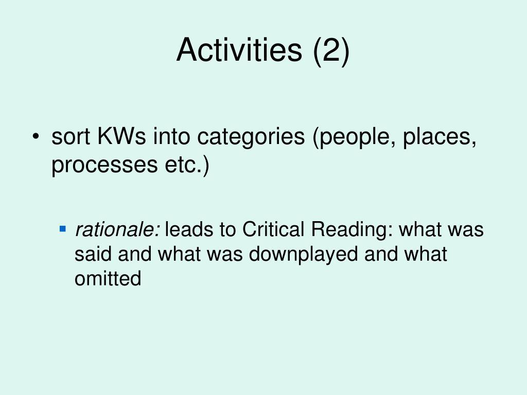 Activities (2)
