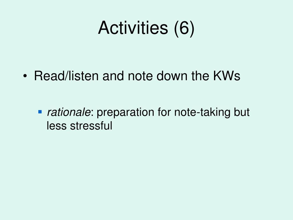 Activities (6)