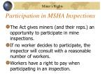 participation in msha inspections
