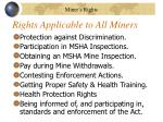 rights applicable to all miners