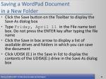 saving a wordpad document in a new folder
