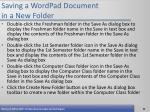 saving a wordpad document in a new folder52