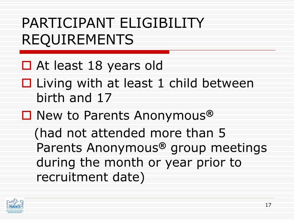 PARTICIPANT ELIGIBILITY REQUIREMENTS