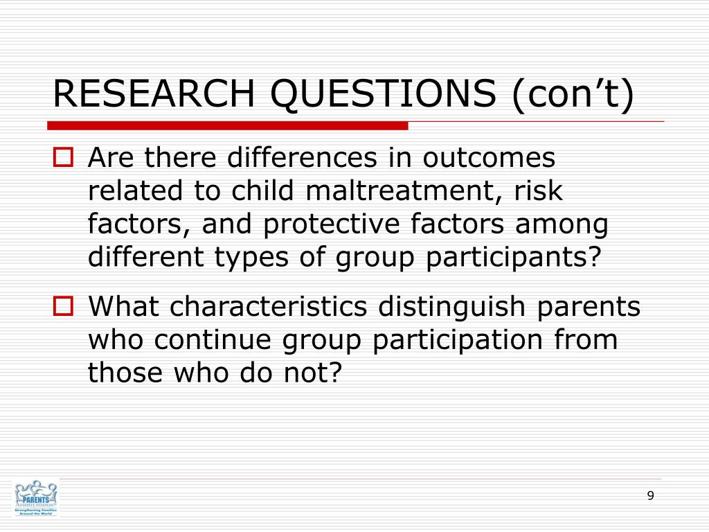 RESEARCH QUESTIONS (con't)