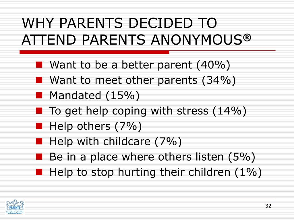 WHY PARENTS DECIDED TO ATTEND PARENTS ANONYMOUS