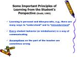 some important principles of learning from the student s perspective dodd 1995