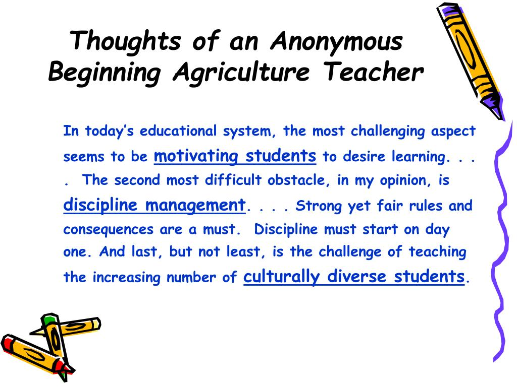 thoughts of an anonymous beginning agriculture teacher l.