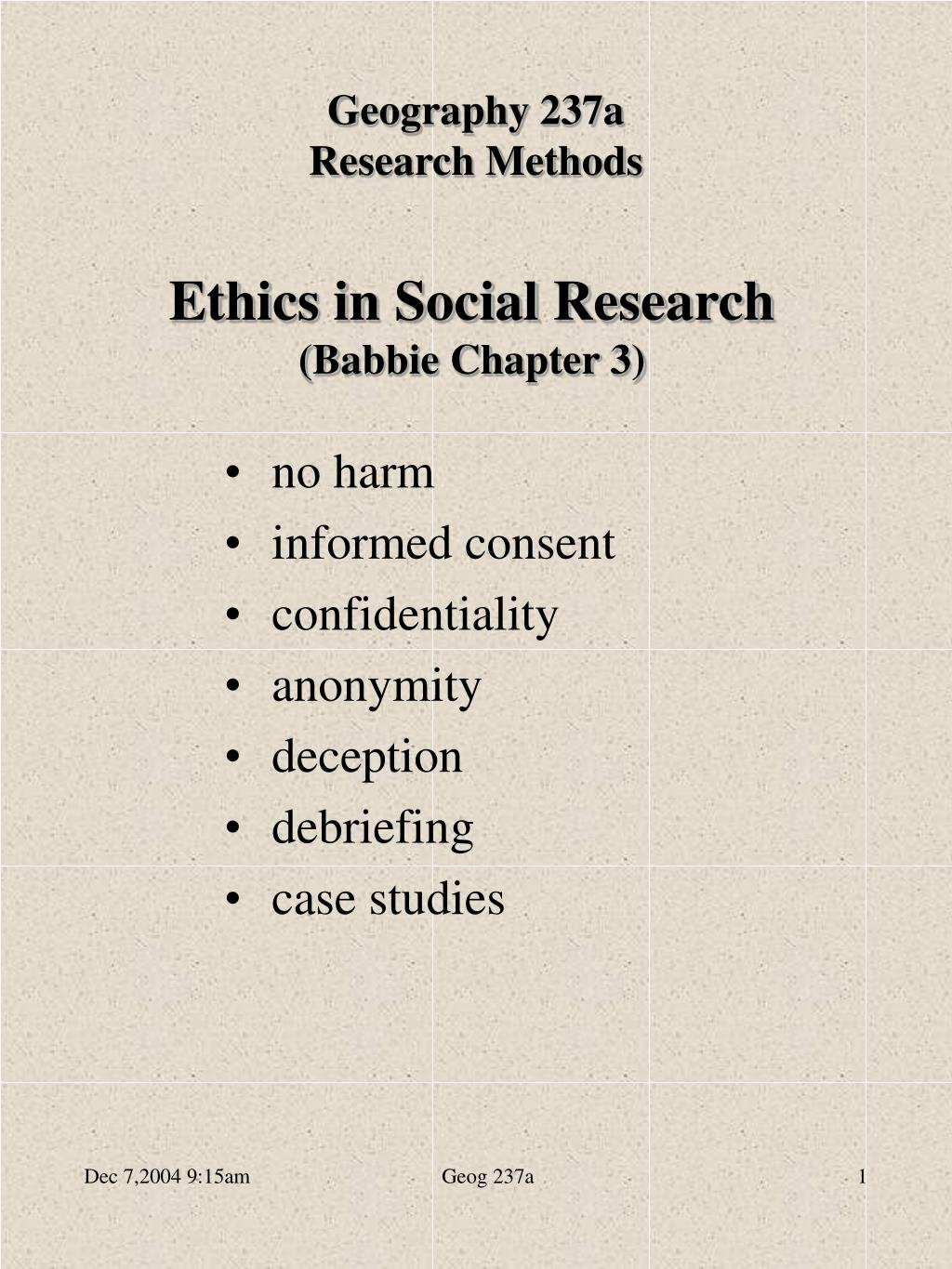 ethics in social research babbie chapter 3 l.