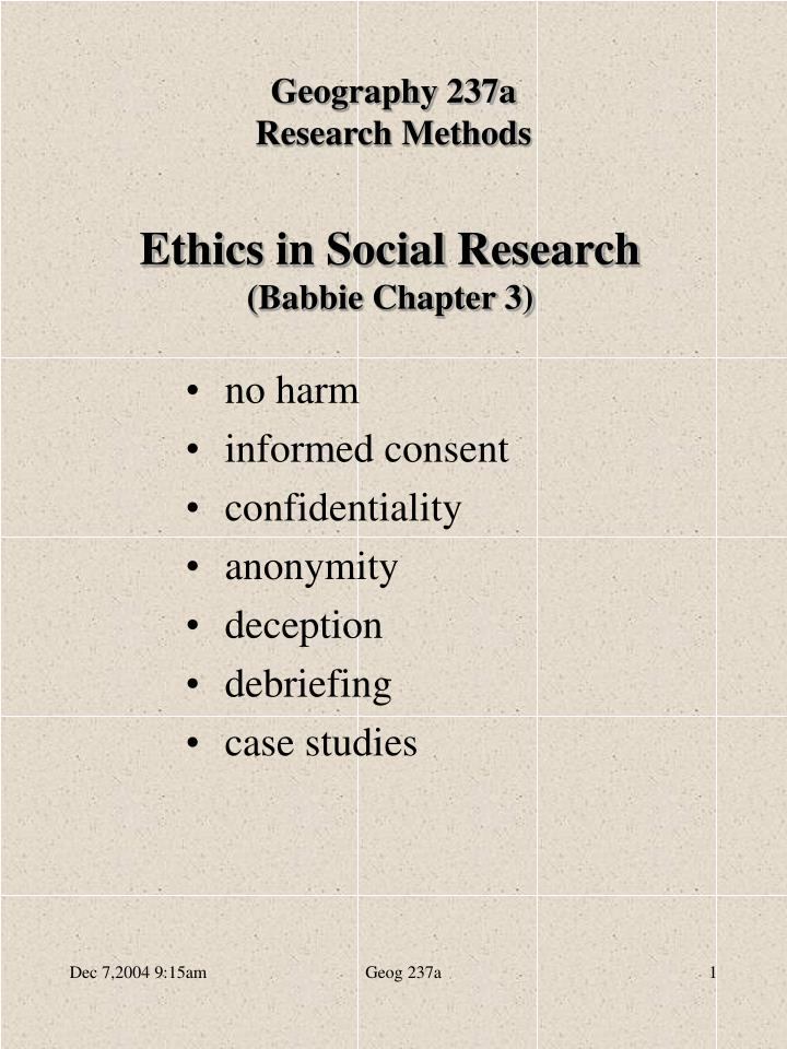 ethics in social research babbie chapter 3 n.