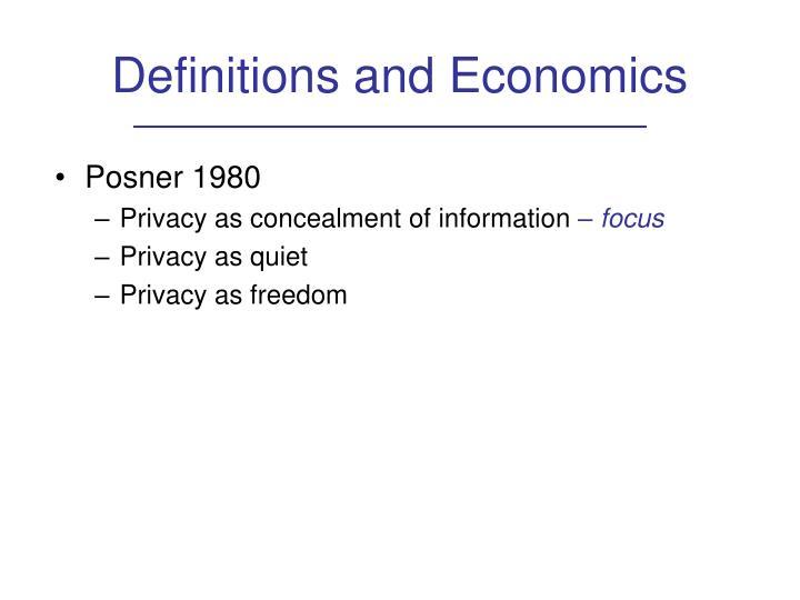 Definitions and Economics