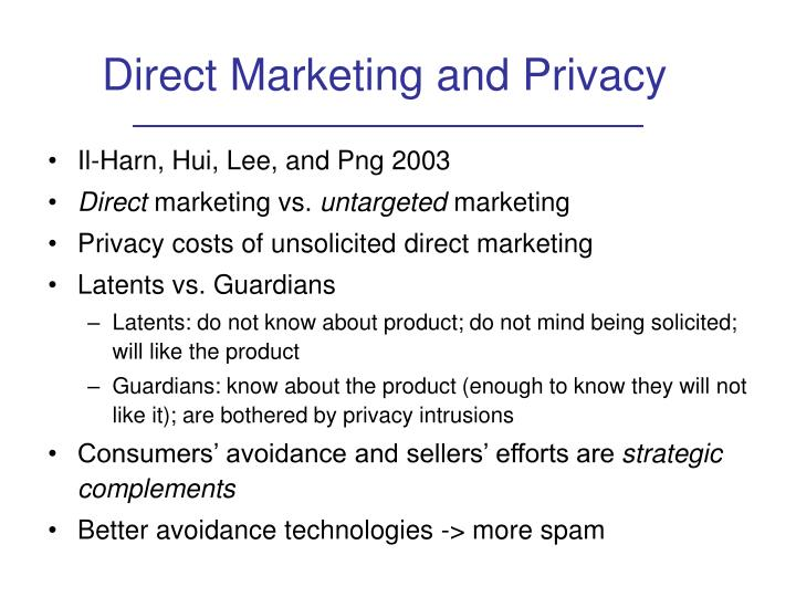 Direct Marketing and Privacy