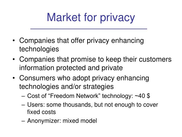 Market for privacy