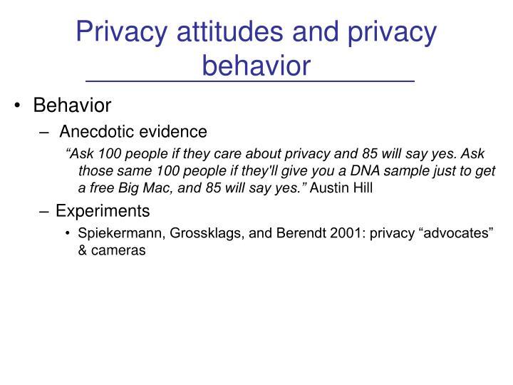 Privacy attitudes and privacy behavior