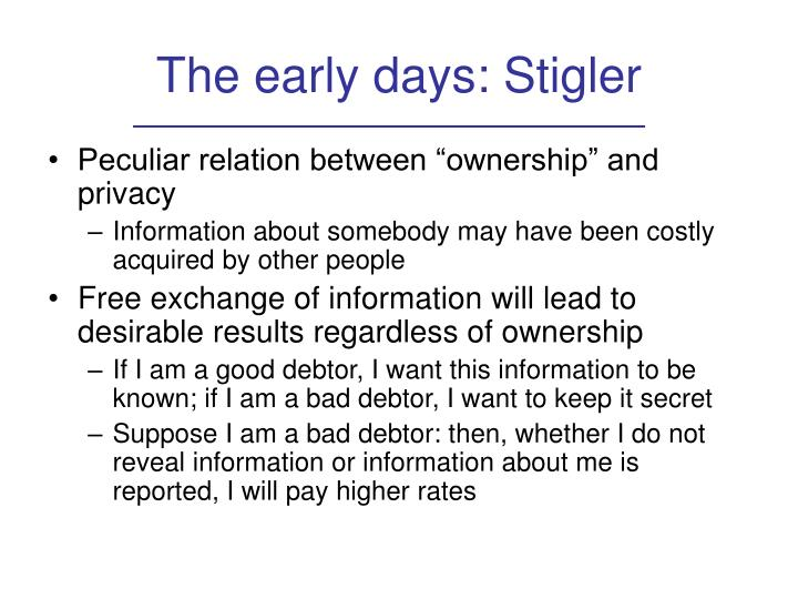 The early days: Stigler