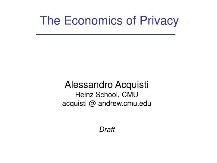 The economics of privacy