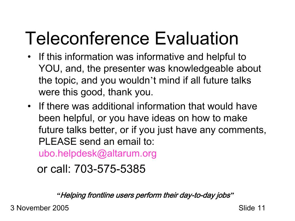 Teleconference Evaluation