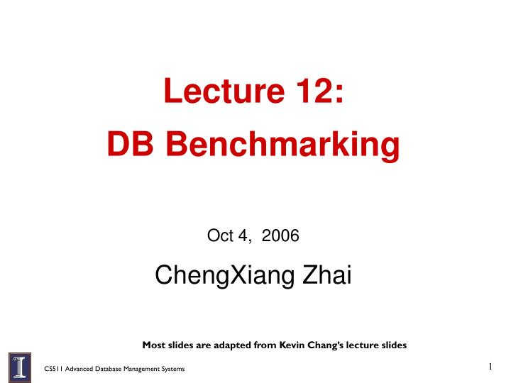 Lecture 12 db benchmarking