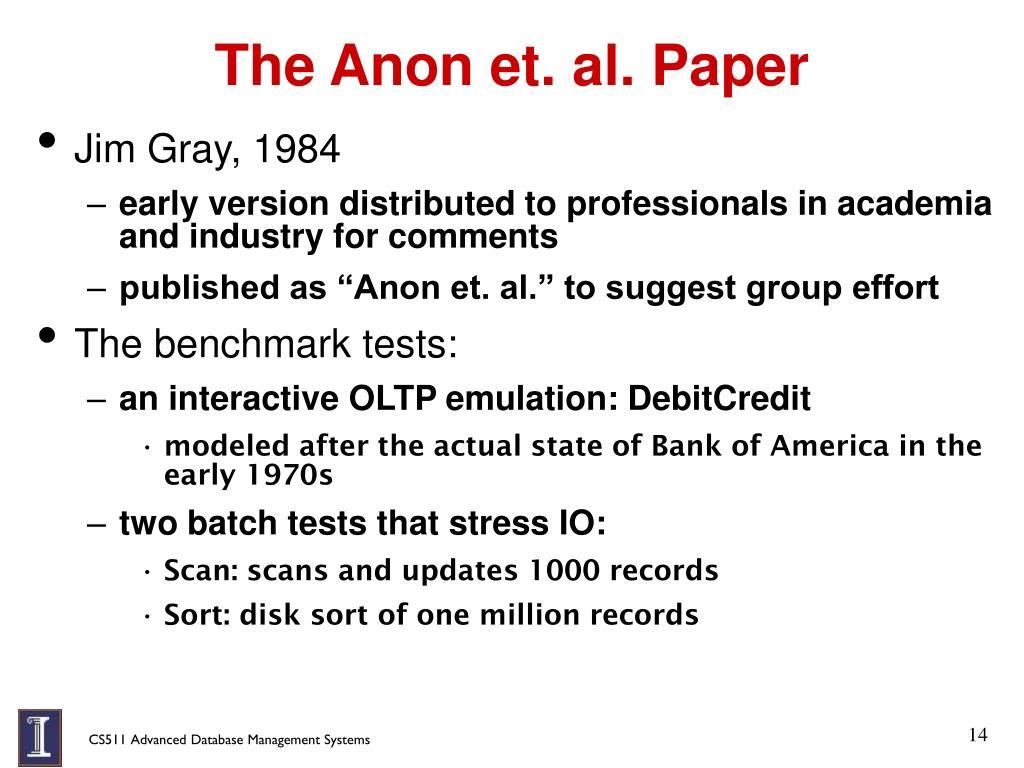 The Anon et. al. Paper