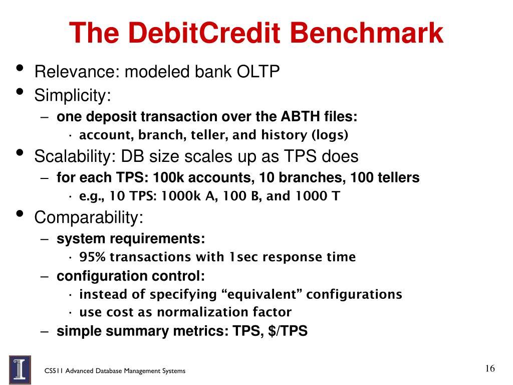 The DebitCredit Benchmark