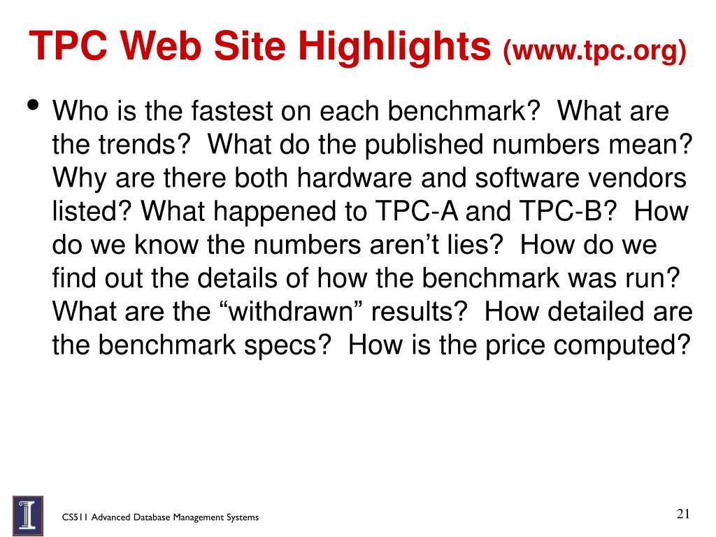 TPC Web Site Highlights