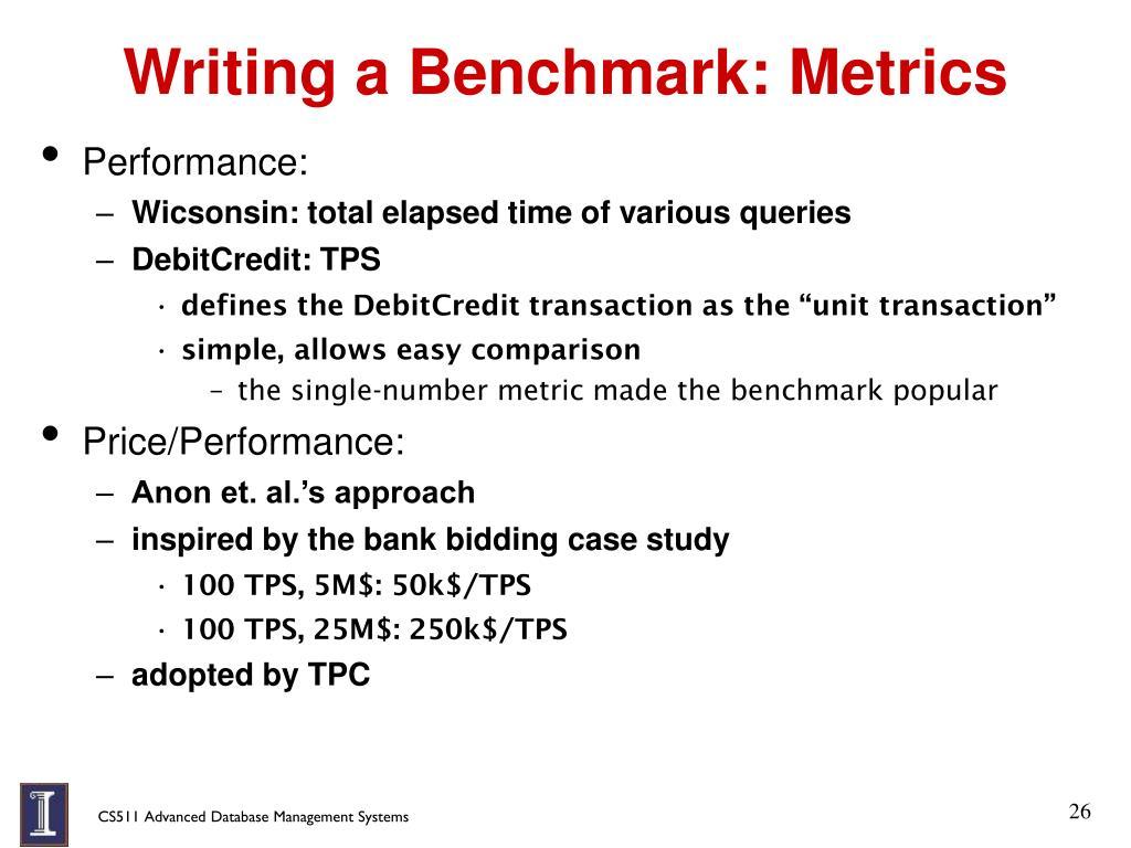 Writing a Benchmark: Metrics