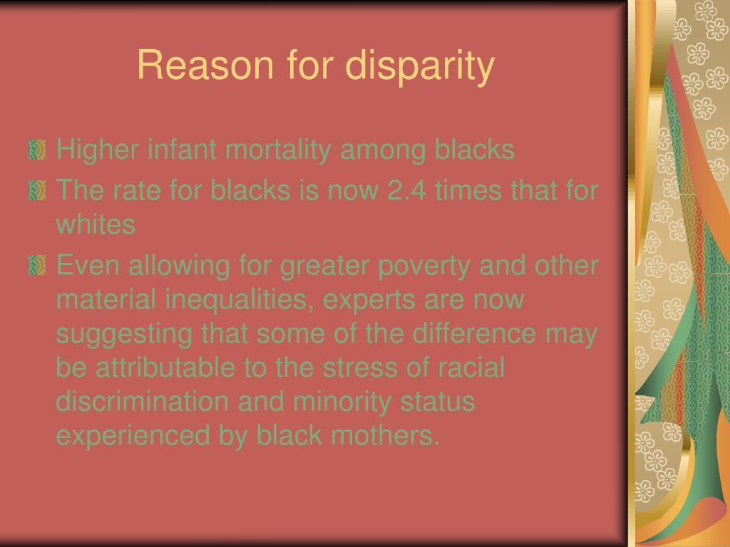 Reason for disparity
