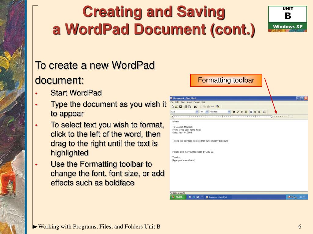 To create a new WordPad