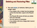deleting and restoring files