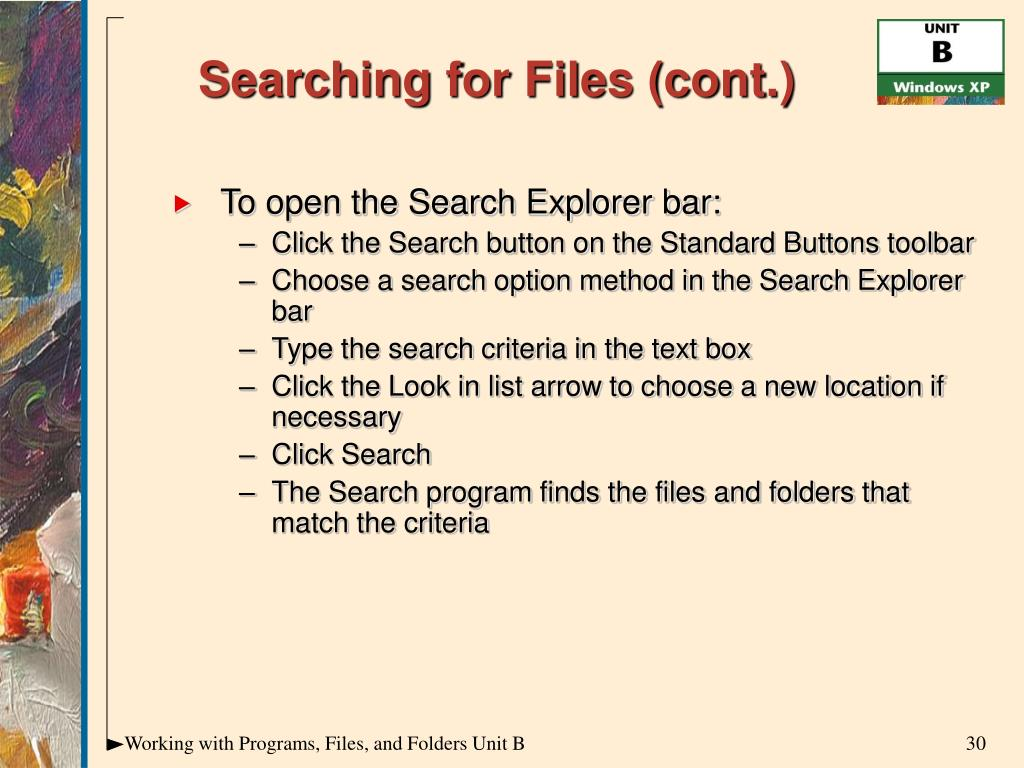 Searching for Files (cont.)