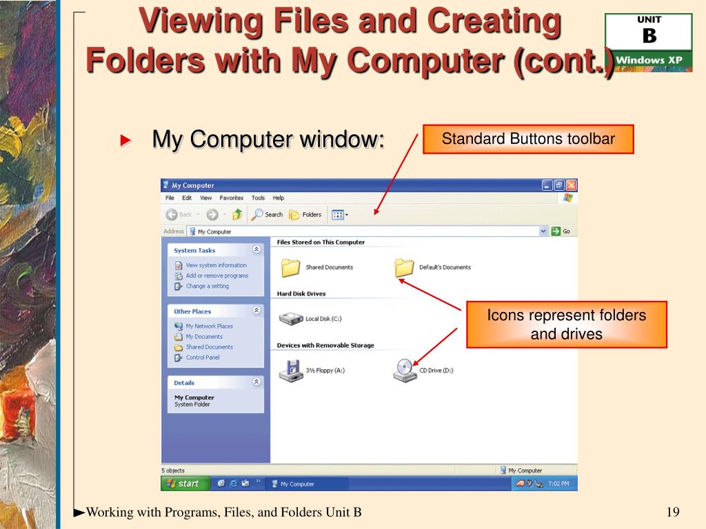 Viewing Files and Creating Folders with My Computer (cont.)