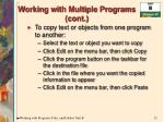 working with multiple programs cont