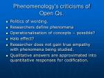 phenomenology s criticisms of open qs