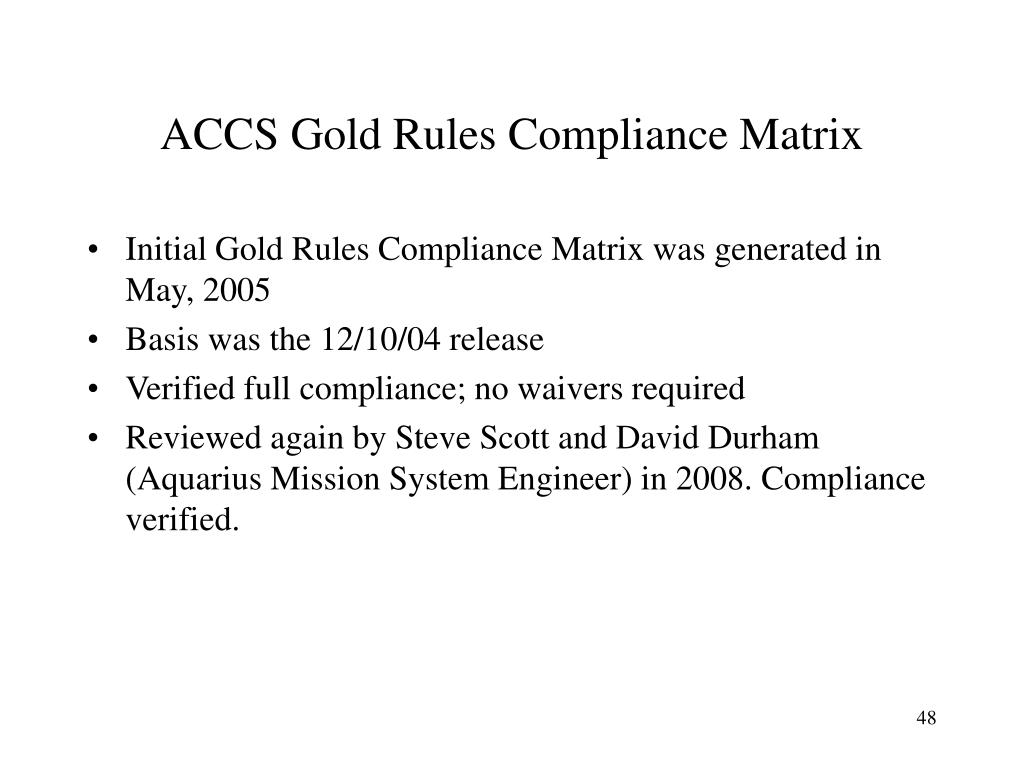 ACCS Gold Rules Compliance Matrix