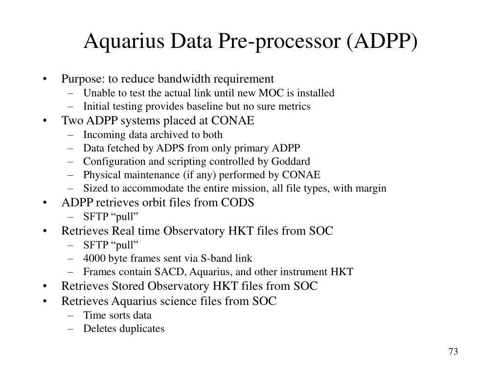 Aquarius Data Pre-processor (ADPP)