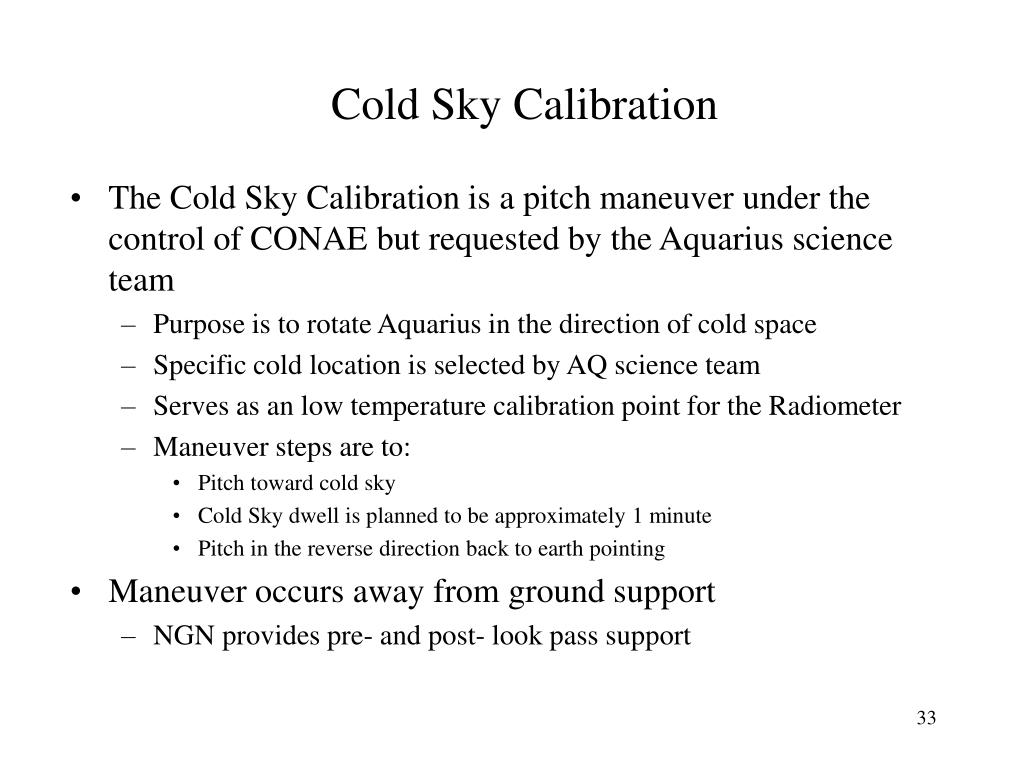 Cold Sky Calibration