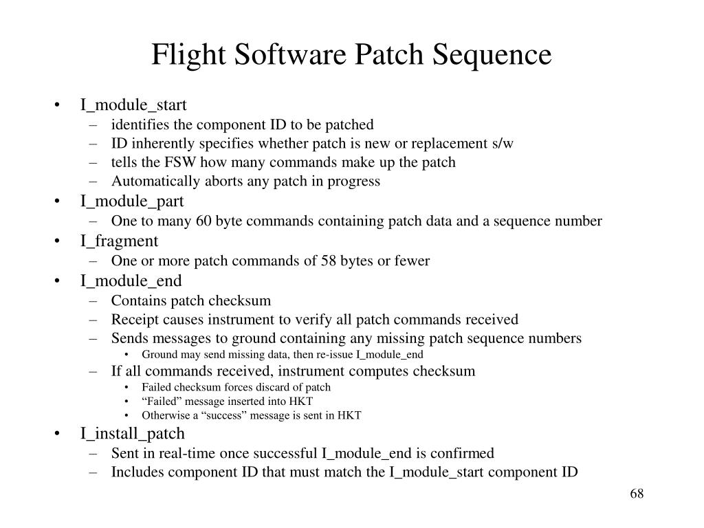 Flight Software Patch Sequence
