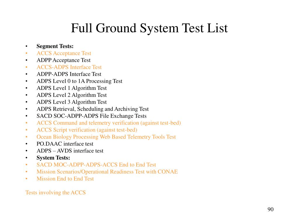 Full Ground System Test List