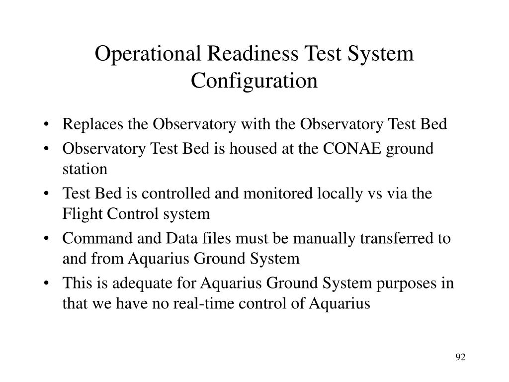 Operational Readiness Test System Configuration
