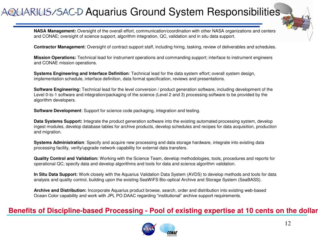 Aquarius Ground System Responsibilities