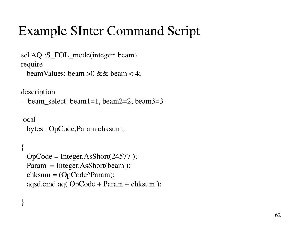 Example SInter Command Script