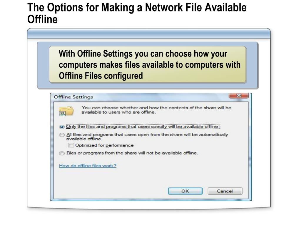 The Options for Making a Network File Available Offline