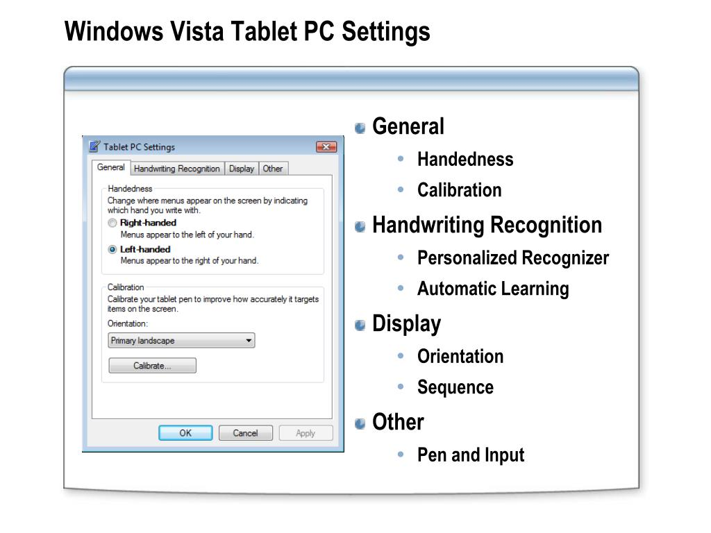 Windows Vista Tablet PC Settings