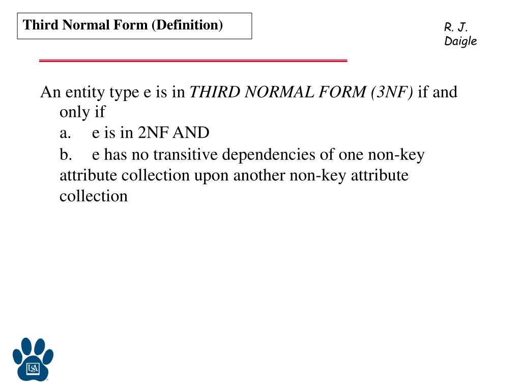 Third Normal Form (Definition)
