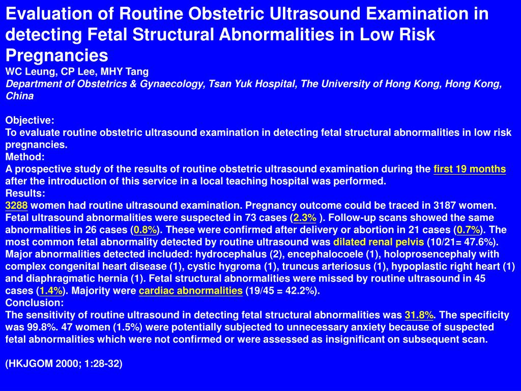 Evaluation of Routine Obstetric Ultrasound Examination in detecting Fetal Structural Abnormalities in Low Risk Pregnancies