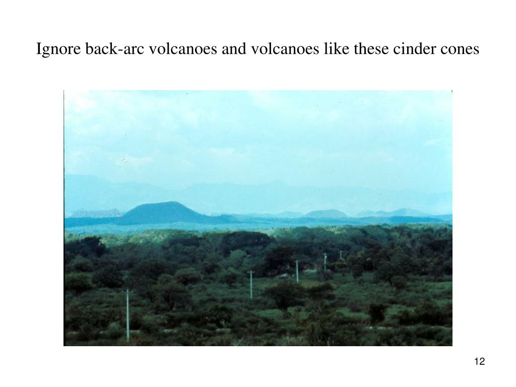 Ignore back-arc volcanoes and volcanoes like these cinder cones